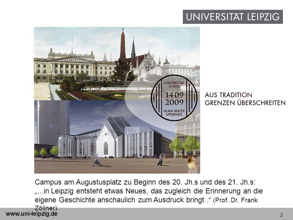 2 www.uni-leipzig.de Campus am Augustusplatz zu Beginn des 20. Jh.s und des 21. Jh.s:...in Leipzig entsteht etwas Neues, das zugleich die Erinnerung a