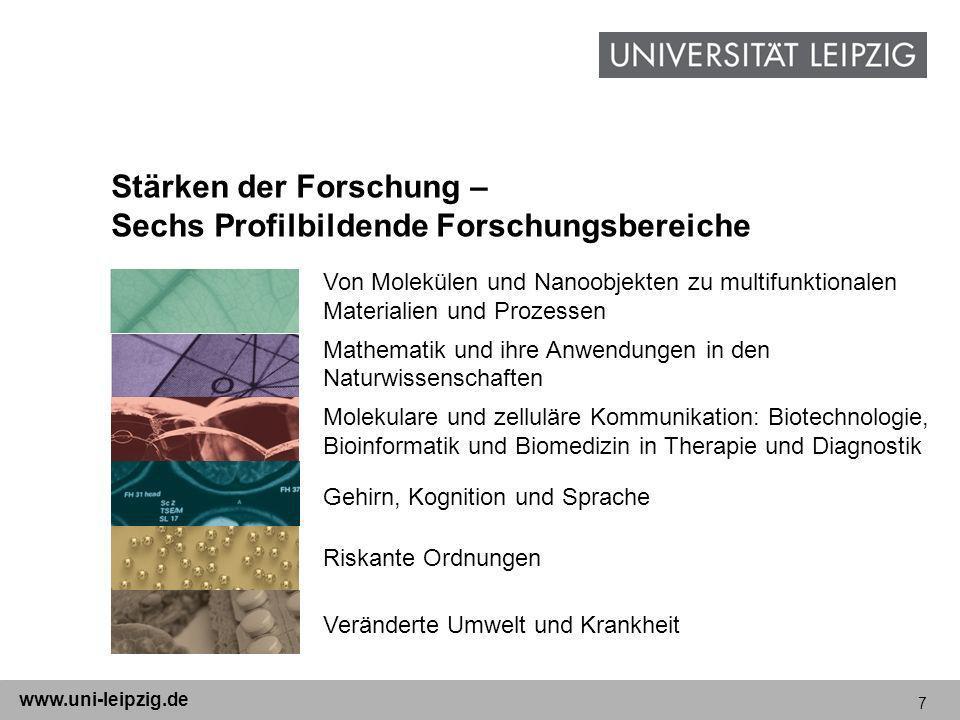 7 www.uni-leipzig.de Stärken der Forschung – Sechs Profilbildende Forschungsbereiche Von Molekülen und Nanoobjekten zu multifunktionalen Materialien u