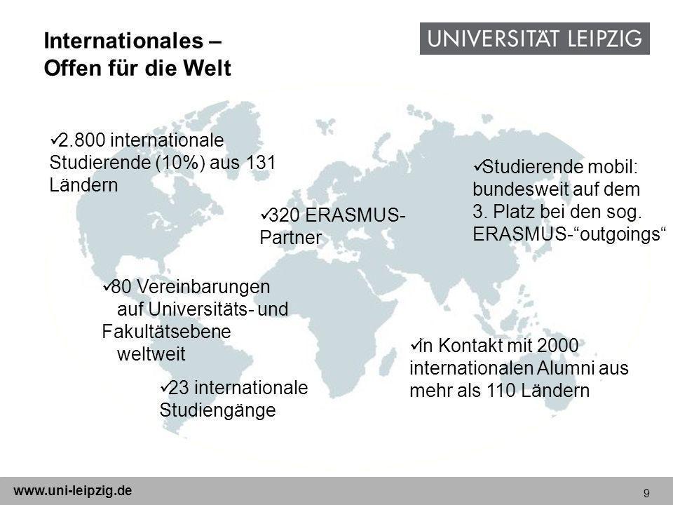 9 www.uni-leipzig.de Internationales – Offen für die Welt 2.800 internationale Studierende (10%) aus 131 Ländern 23 internationale Studiengänge 320 ER