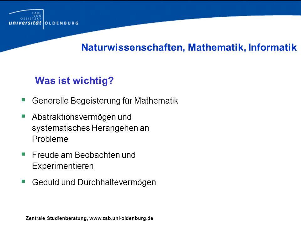 Zentrale Studienberatung, www.zsb.uni-oldenburg.de Generelle Begeisterung für Mathematik Abstraktionsvermögen und systematisches Herangehen an Problem