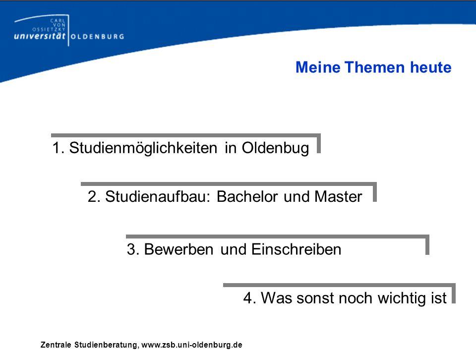 Zentrale Studienberatung, www.zsb.uni-oldenburg.de 1. Studienmöglichkeiten in Oldenbug 2. Studienaufbau: Bachelor und Master 3. Bewerben und Einschrei