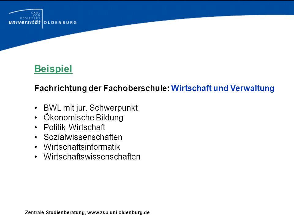 Zentrale Studienberatung, www.zsb.uni-oldenburg.de Beispiel Fachrichtung der Fachoberschule: Wirtschaft und Verwaltung BWL mit jur. Schwerpunkt Ökonom