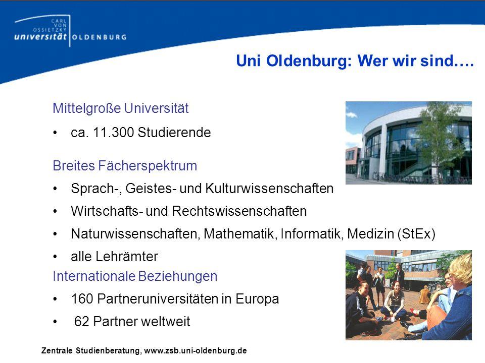 Zentrale Studienberatung, www.zsb.uni-oldenburg.de Mittelgroße Universität ca. 11.300 Studierende Internationale Beziehungen 160 Partneruniversitäten