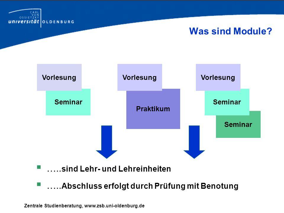 Zentrale Studienberatung, www.zsb.uni-oldenburg.de Praktikum Seminar ….. sind Lehr- und Lehreinheiten ….. Abschluss erfolgt durch Prüfung mit Benotung
