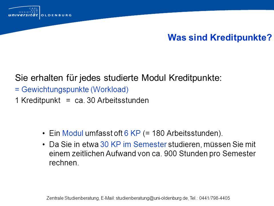 Zentrale Studienberatung, E-Mail: studienberatung@uni-oldenburg.de, Tel.: 0441/798-4405 Sie erhalten für jedes studierte Modul Kreditpunkte: = Gewicht