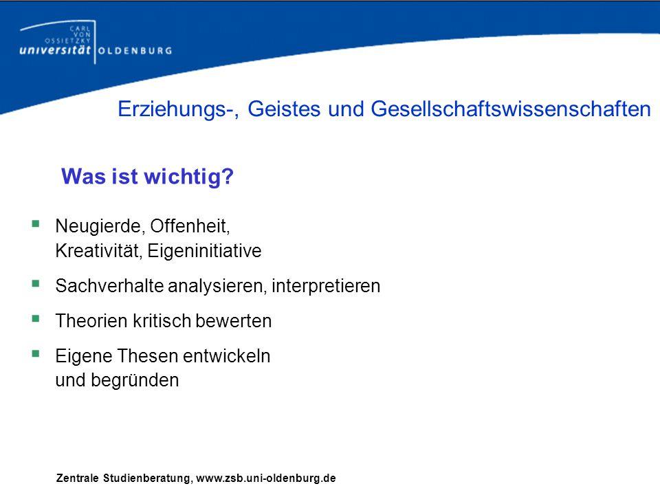 Beispiel: Sie möchten Pädagogik studieren - im Fachbachelor -im Zwei - Fächer - Bachelor (Pädagogik und Sport) Zentrale Studienberatung, www.zsb.uni-oldenburg.de