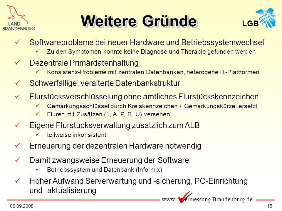 www. ermessung.Brandenburg.de LGB 1506.09.2008 Softwareprobleme bei neuer Hardware und Betriebssystemwechsel Softwareprobleme bei neuer Hardware und B