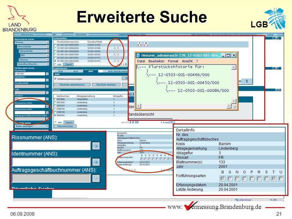 www. ermessung.Brandenburg.de LGB 2106.09.2008 Erweiterte Suche