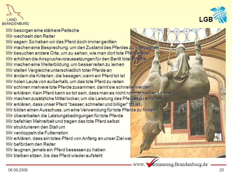www. ermessung.Brandenburg.de LGB 2506.09.2008 Wir besorgen eine stärkere Peitsche Wir wechseln den Reiter Wir sagen: So haben wir das Pferd doch imme