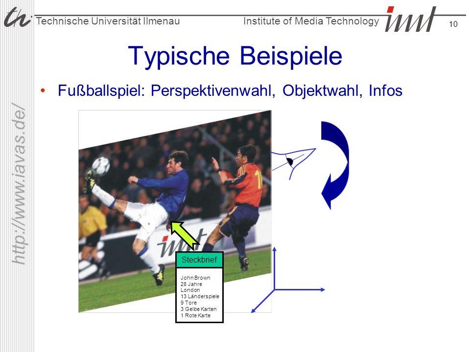 Institute of Media Technology Technische Universität Ilmenau http://www.iavas.de/ 10 Typische Beispiele Fußballspiel: Perspektivenwahl, Objektwahl, In