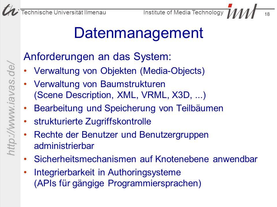 Institute of Media Technology Technische Universität Ilmenau http://www.iavas.de/ 18 Datenmanagement Anforderungen an das System: Verwaltung von Objek