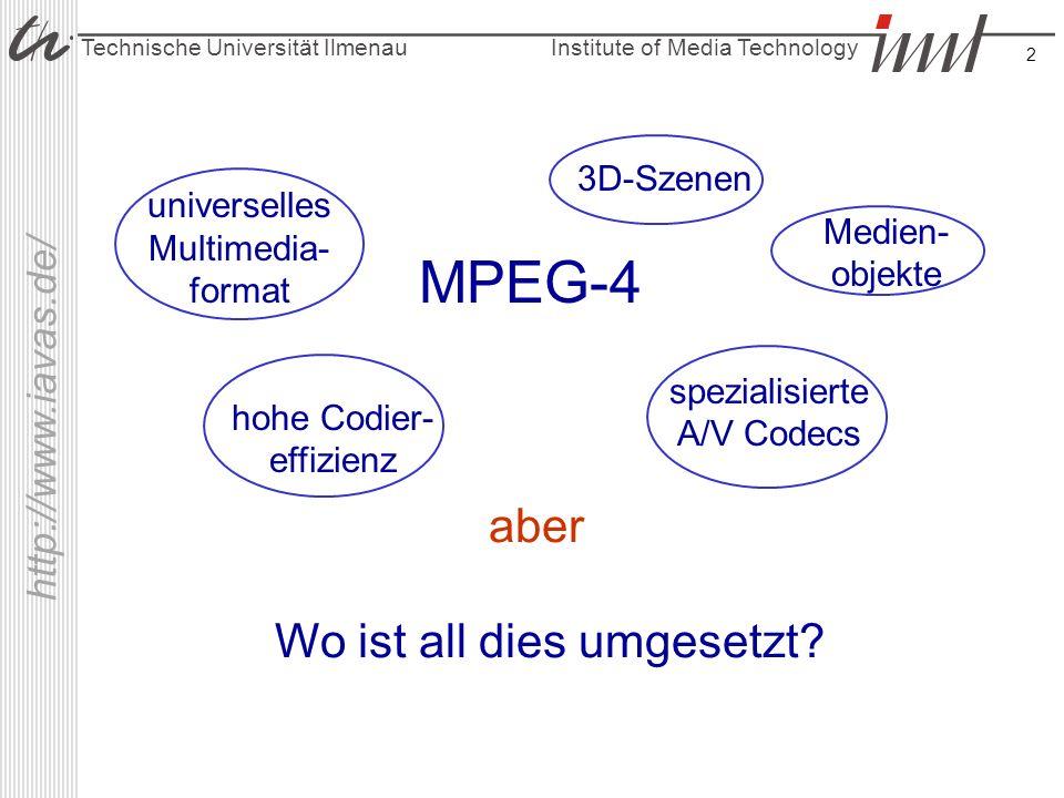 Institute of Media Technology Technische Universität Ilmenau http://www.iavas.de/ 2 Medien- objekte Wo ist all dies umgesetzt? MPEG-4 aber universelle