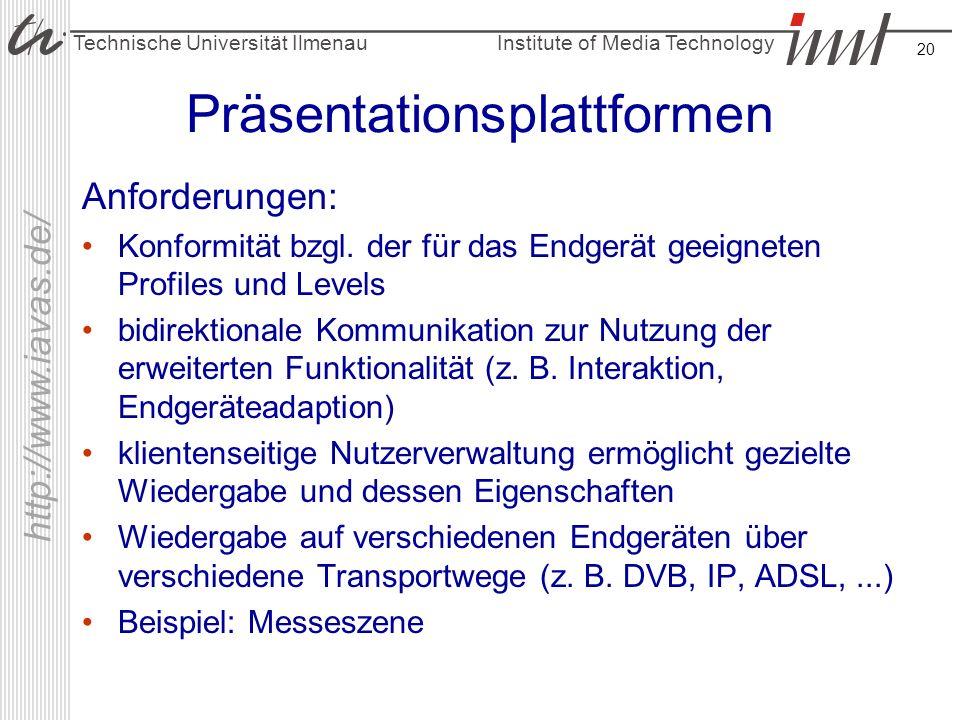 Institute of Media Technology Technische Universität Ilmenau http://www.iavas.de/ 20 Präsentationsplattformen Anforderungen: Konformität bzgl. der für