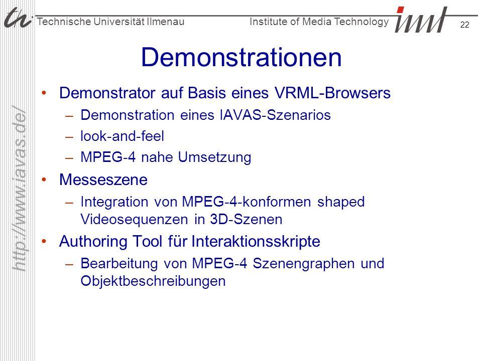 Institute of Media Technology Technische Universität Ilmenau http://www.iavas.de/ 22 Demonstrationen Demonstrator auf Basis eines VRML-Browsers –Demon