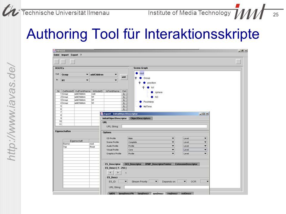 Institute of Media Technology Technische Universität Ilmenau http://www.iavas.de/ 25 Authoring Tool für Interaktionsskripte