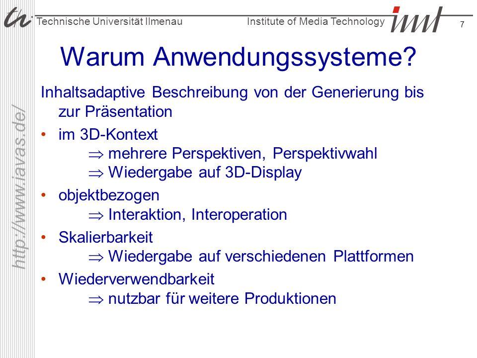 Institute of Media Technology Technische Universität Ilmenau http://www.iavas.de/ 7 Warum Anwendungssysteme? Inhaltsadaptive Beschreibung von der Gene