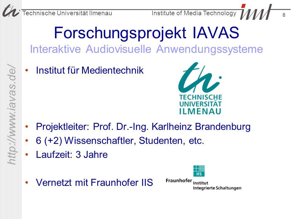 Institute of Media Technology Technische Universität Ilmenau http://www.iavas.de/ 8 Forschungsprojekt IAVAS Interaktive Audiovisuelle Anwendungssystem