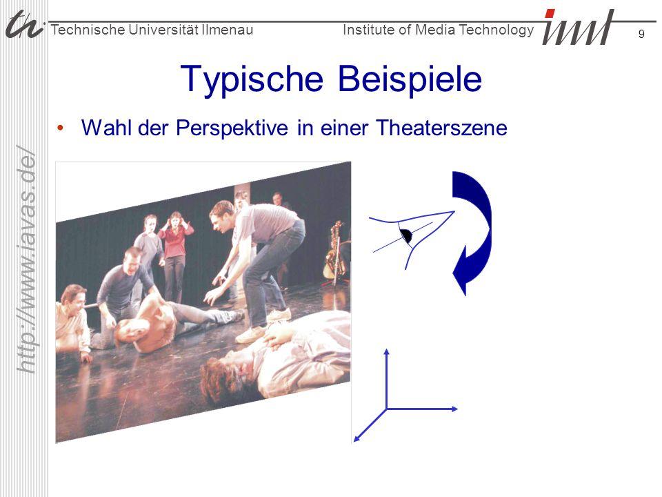 Institute of Media Technology Technische Universität Ilmenau http://www.iavas.de/ 9 Typische Beispiele Wahl der Perspektive in einer Theaterszene