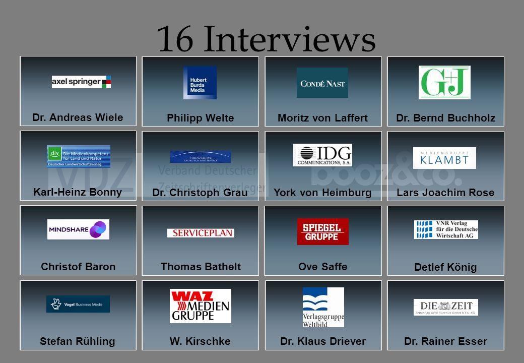 Wieder alles beim Alten.Die Zeitschriftenbranche nach dem Annus Horribilis 2009 16 Interviews Dr.