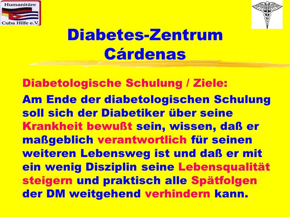 Diabetes-Zentrum Cárdenas Diabetologische Schulung / Ziele: Am Ende der diabetologischen Schulung soll sich der Diabetiker über seine Krankheit bewußt