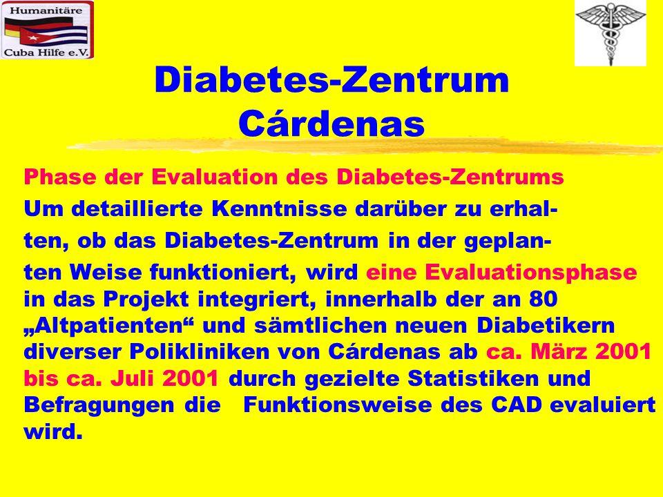 Diabetes-Zentrum Cárdenas Phase der Evaluation des Diabetes-Zentrums Um detaillierte Kenntnisse darüber zu erhal- ten, ob das Diabetes-Zentrum in der