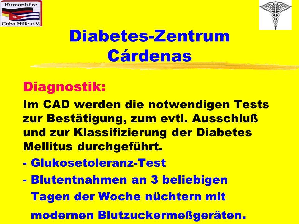 Diabetes-Zentrum Cárdenas Einstellung und Weiterbehandlung: Die Einstellung/Weiterbehandlung erfolgt sowohl mit Insulinen als auch durch orale Antidiabetika oder einfach durch Ernährungsumstellung, in Abhängigkeit der Klassifizierung und der persönlichen Bedürfnisse der Patienten.