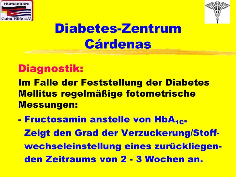 Diabetes-Zentrum Cárdenas Einstellung und Weiterbehandlung: Das Diabetes-Zentrum verfügt über ein PC-Programm, das den Anwendern die Verwaltung sämtlicher Patientendaten zur exakten Dokumentation der Krankengeschichte der Diabetiker erlaubt.