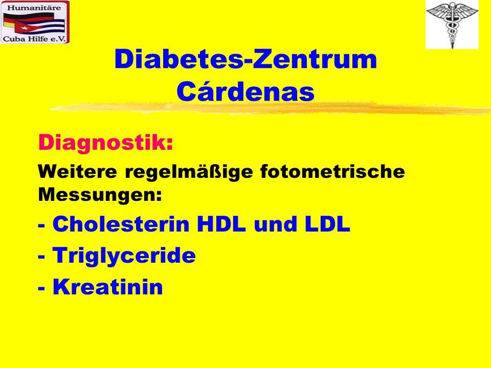 Diabetes-Zentrum Cárdenas Diagnostik: Weitere regelmäßige fotometrische Messungen: - Cholesterin HDL und LDL - Triglyceride - Kreatinin