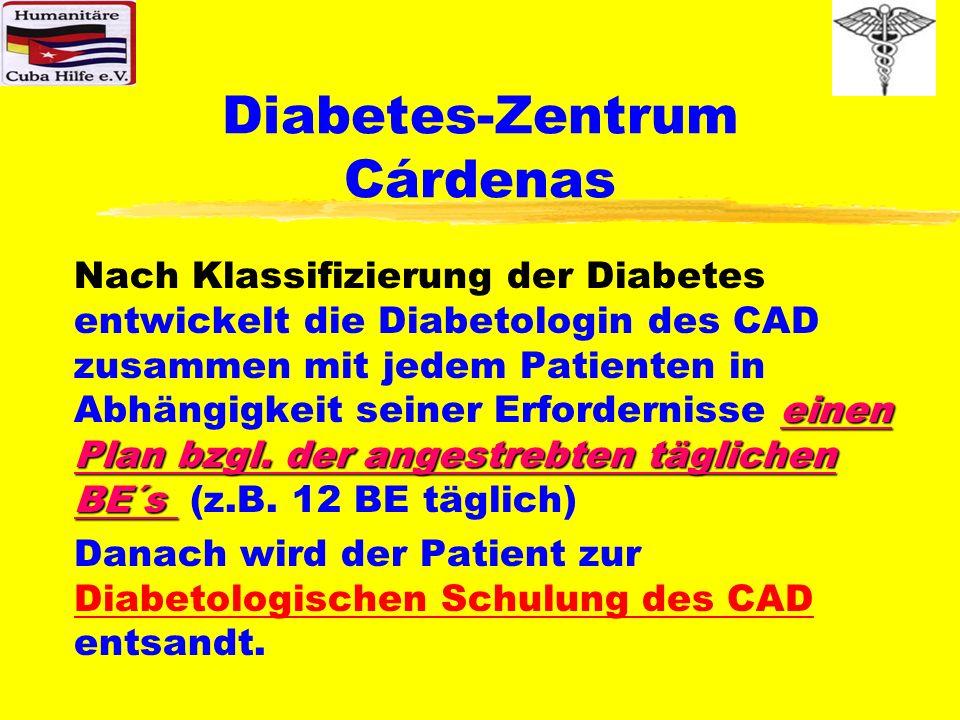 Diabetes-Zentrum Cárdenas Phase der Evaluation des Diabetes-Zentrums In dieser Untersuchungs/Evaluationsphase werden sowohl die nach dem Zufallsprinzip ermittelten Altfälle als auch die Neufälle nach den derzeit noch provisorischen Möglichkeiten des CAD in Bezug auf Diagnostik, Diabetologische Schulung, Einstellung u.