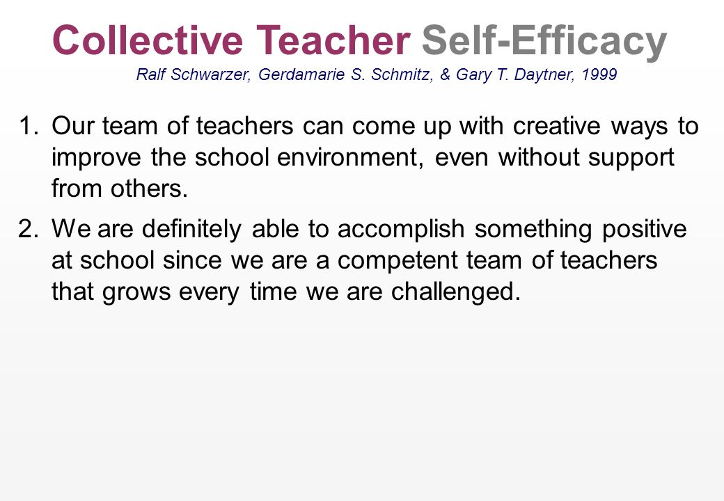 Self-efficacious teachers spend more free time with their students Schmitz, G.