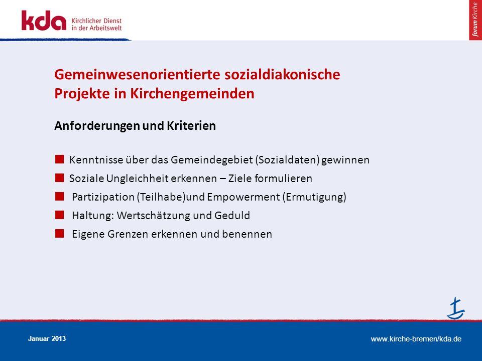 www.kirche-bremen/kda.de Januar 2013 Anforderungen und Kriterien Kenntnisse über das Gemeindegebiet (Sozialdaten) gewinnen Soziale Ungleichheit erkenn
