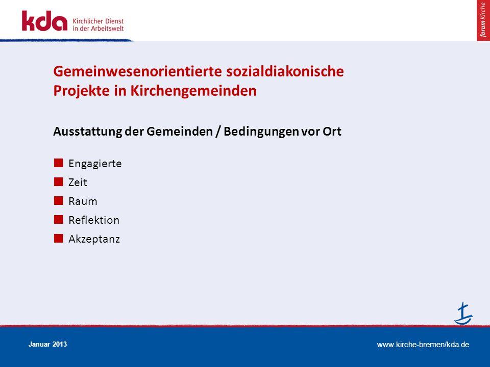 www.kirche-bremen/kda.de Januar 2013 Ausstattung der Gemeinden / Bedingungen vor Ort Engagierte Zeit Raum Reflektion Akzeptanz Gemeinwesenorientierte