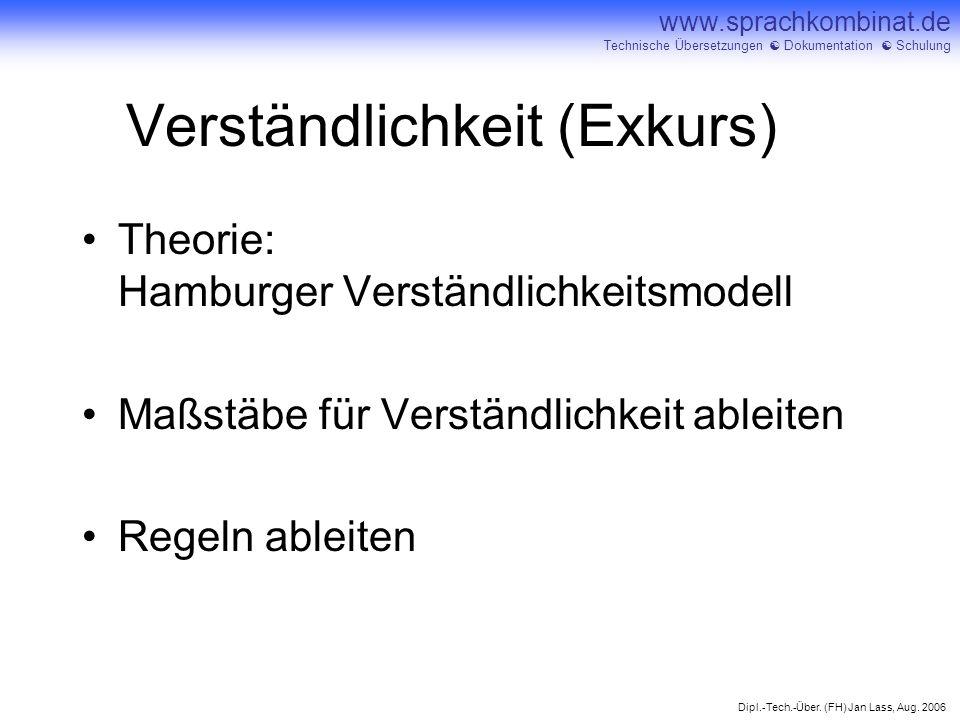 Dipl.-Tech.-Über. (FH) Jan Lass, Aug. 2006 www.sprachkombinat.de Technische Übersetzungen Dokumentation Schulung Verständlichkeit (Exkurs) Theorie: Ha
