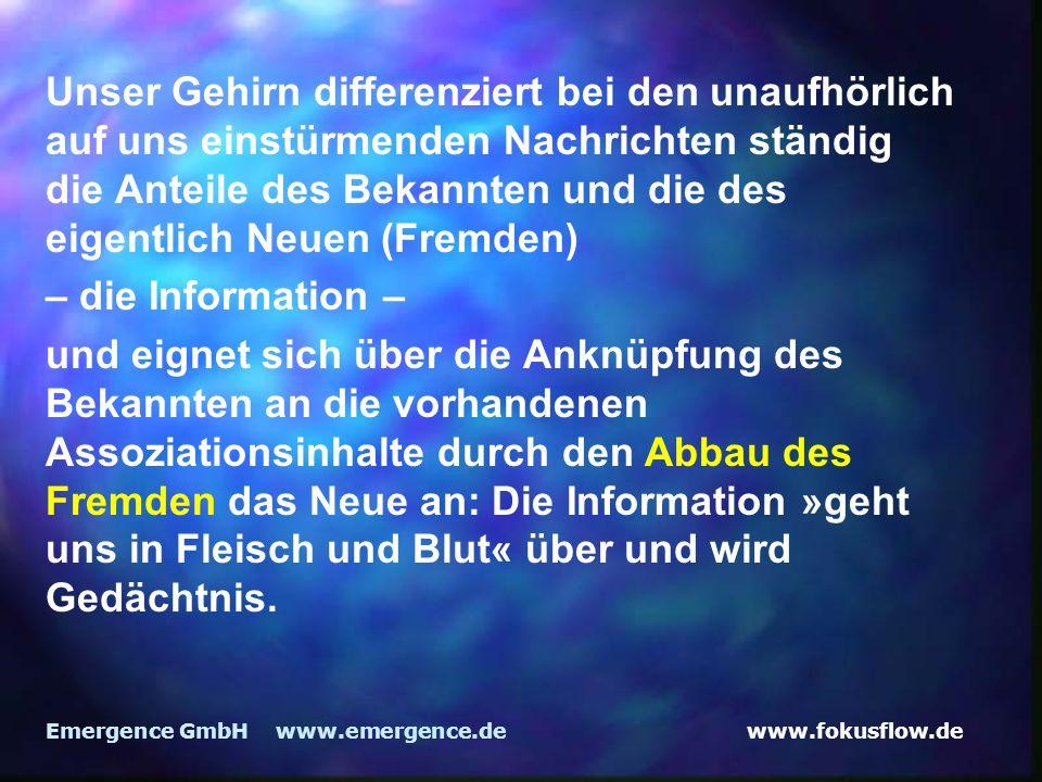 www.fokusflow.deEmergence GmbH www.emergence.de Unser Gehirn differenziert bei den unaufhörlich auf uns einstürmenden Nachrichten ständig die Anteile