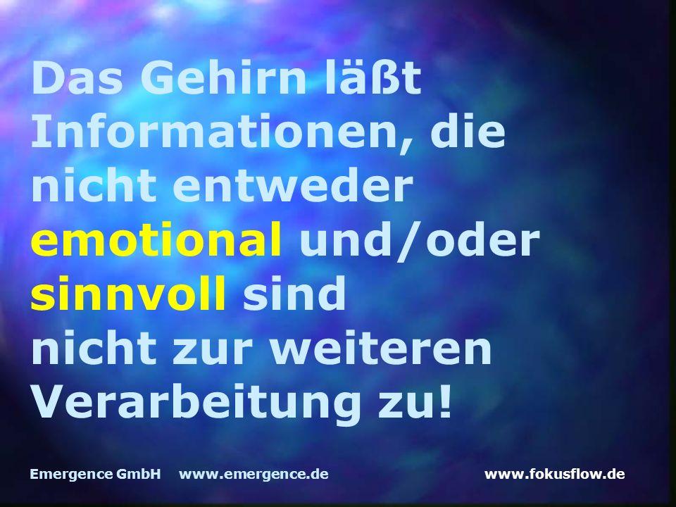 www.fokusflow.deEmergence GmbH www.emergence.de Das Gehirn läßt Informationen, die nicht entweder emotional und/oder sinnvoll sind nicht zur weiteren Verarbeitung zu!