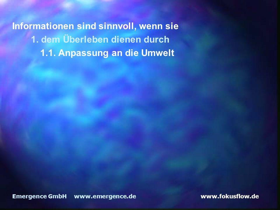 www.fokusflow.deEmergence GmbH www.emergence.de Informationen sind sinnvoll, wenn sie 1. dem Überleben dienen durch 1.1. Anpassung an die Umwelt