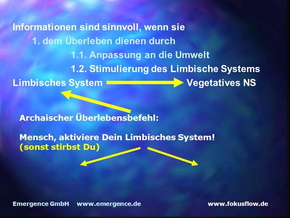 www.fokusflow.deEmergence GmbH www.emergence.de Informationen sind sinnvoll, wenn sie 1. dem Überleben dienen durch 1.1. Anpassung an die Umwelt 1.2.