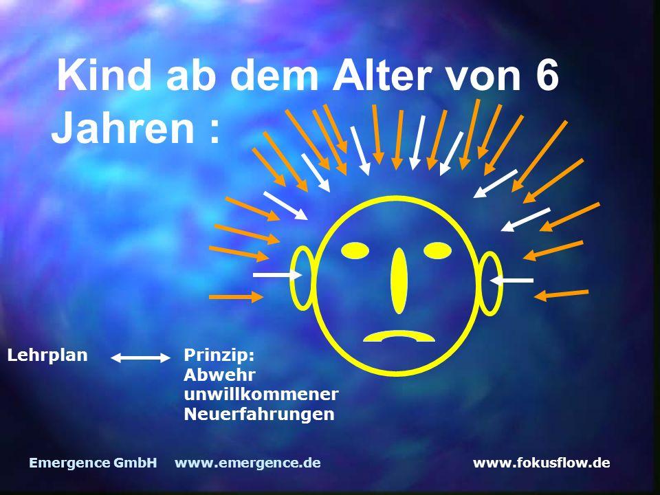 www.fokusflow.deEmergence GmbH www.emergence.de Kind ab dem Alter von 6 Jahren : Lehrplan Prinzip: Abwehr unwillkommener Neuerfahrungen
