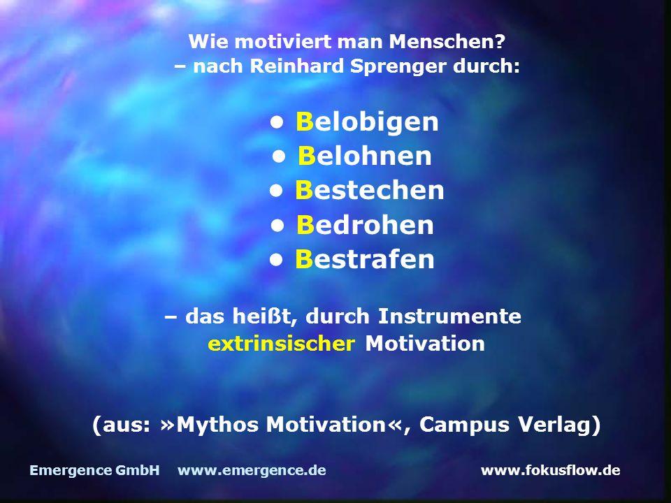 www.fokusflow.deEmergence GmbH www.emergence.de Wie motiviert man Menschen? – nach Reinhard Sprenger durch: Belobigen Belohnen Bestechen Bedrohen Best
