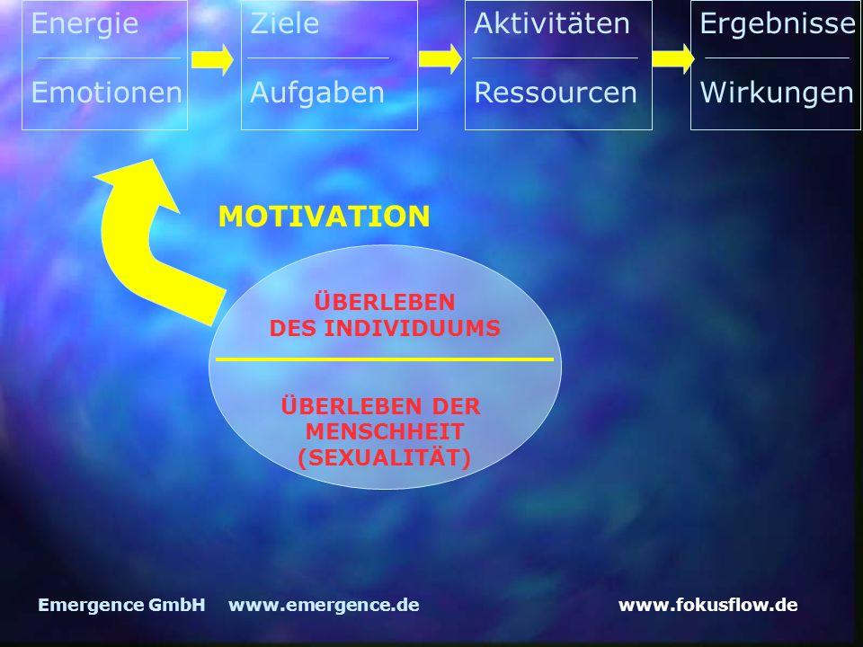 www.fokusflow.deEmergence GmbH www.emergence.de MOTIVATION Energie Emotionen Ziele Aufgaben Aktivitäten Ressourcen Ergebnisse Wirkungen ÜBERLEBEN DES INDIVIDUUMS ÜBERLEBEN DER MENSCHHEIT (SEXUALITÄT)