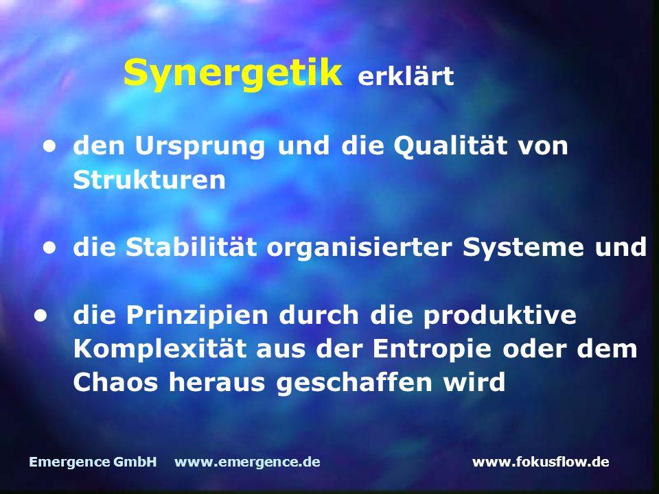 www.fokusflow.deEmergence GmbH www.emergence.de Synergetik erklärt den Ursprung und die Qualität von Strukturen die Stabilität organisierter Systeme und die Prinzipien durch die produktive Komplexität aus der Entropie oder dem Chaos heraus geschaffen wird