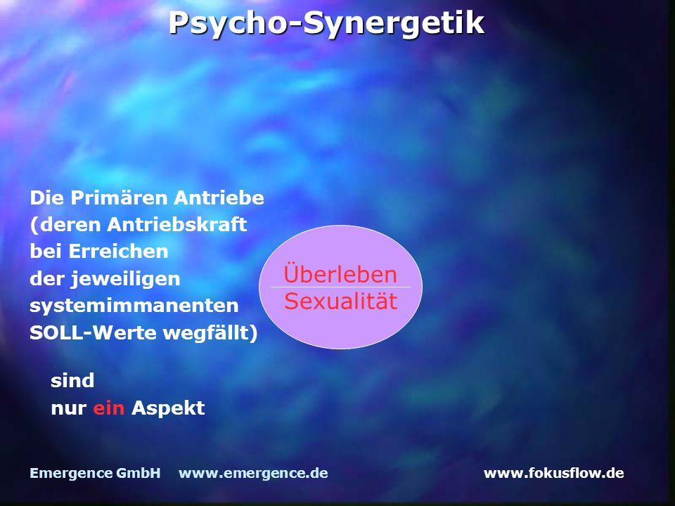 www.fokusflow.deEmergence GmbH www.emergence.dePsycho-Synergetik Die Primären Antriebe (deren Antriebskraft bei Erreichen der jeweiligen systemimmanenten SOLL-Werte wegfällt) Überleben Sexualität sind nur ein Aspekt