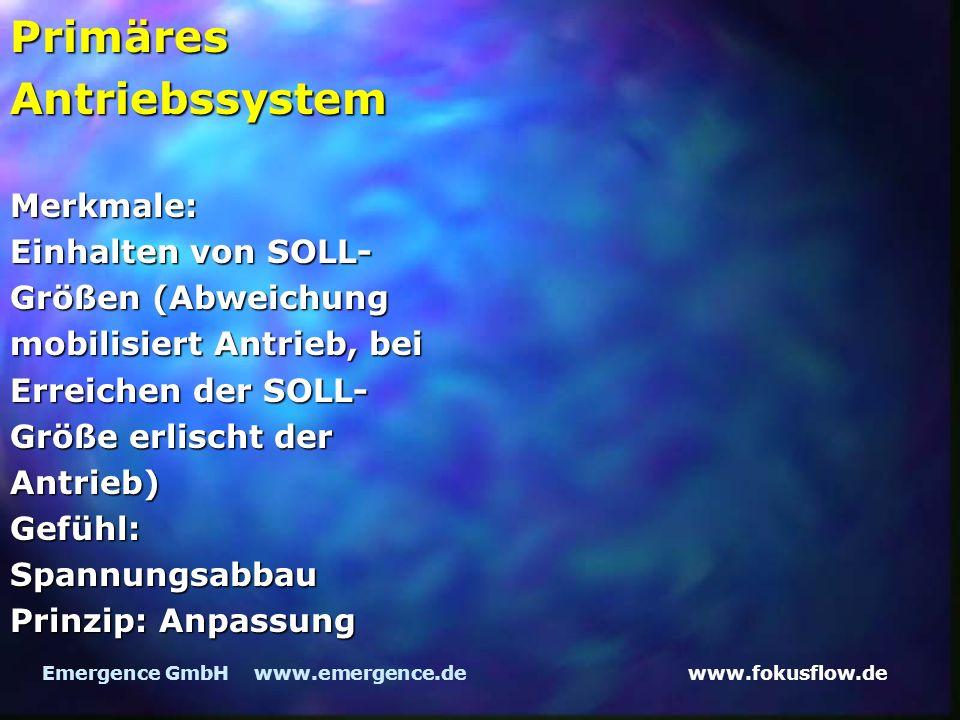 www.fokusflow.deEmergence GmbH www.emergence.de Primäres Antriebssystem Merkmale: Einhalten von SOLL- Größen (Abweichung mobilisiert Antrieb, bei Erreichen der SOLL- Größe erlischt der Antrieb) Gefühl: Spannungsabbau Prinzip: Anpassung