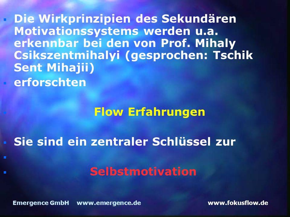 www.fokusflow.deEmergence GmbH www.emergence.de Die Wirkprinzipien des Sekundären Motivationssystems werden u.a. erkennbar bei den von Prof. Mihaly Cs