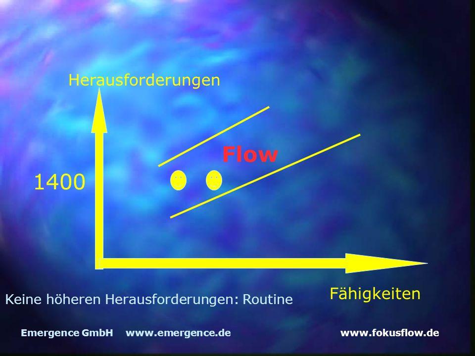 www.fokusflow.deEmergence GmbH www.emergence.de Herausforderungen Fähigkeiten Flow 1400 Keine höheren Herausforderungen: Routine