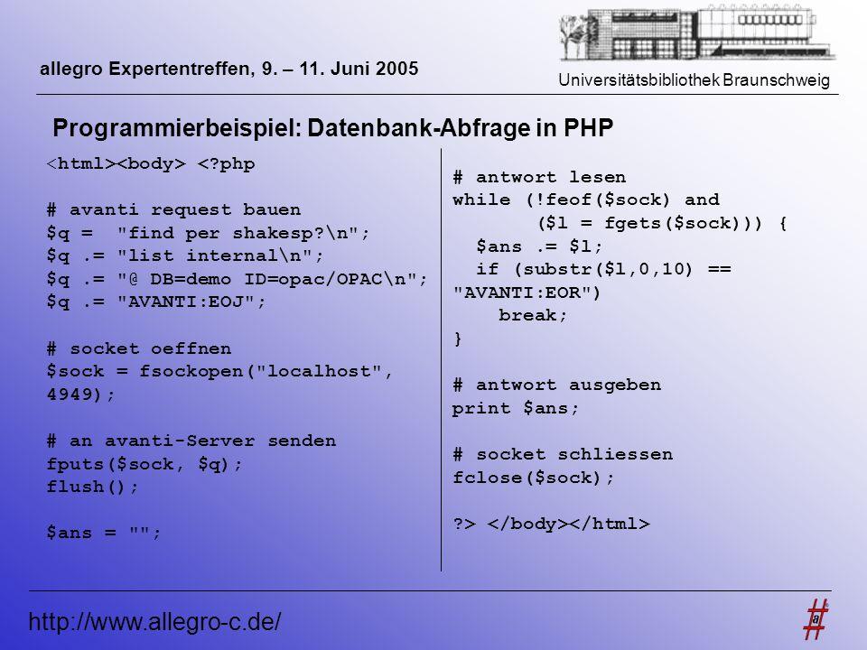 Universitätsbibliothek Braunschweig http://www.allegro-c.de/ allegro Expertentreffen, 9. – 11. Juni 2005 Programmierbeispiel: Datenbank-Abfrage in PHP