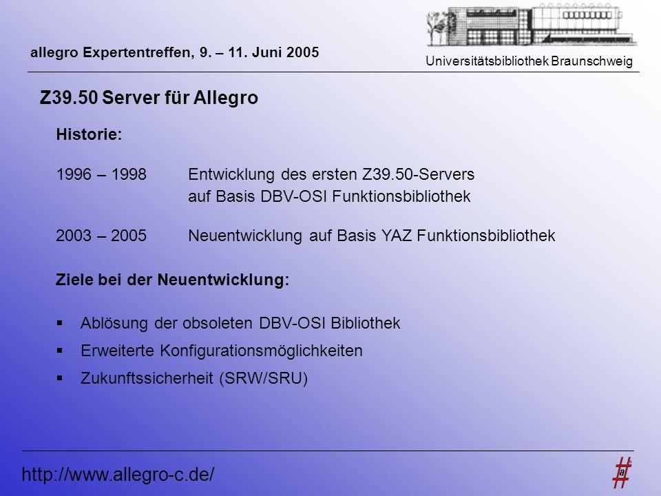 Universitätsbibliothek Braunschweig http://www.allegro-c.de/ allegro Expertentreffen, 9. – 11. Juni 2005 Z39.50 Server für Allegro Historie: 1996 – 19