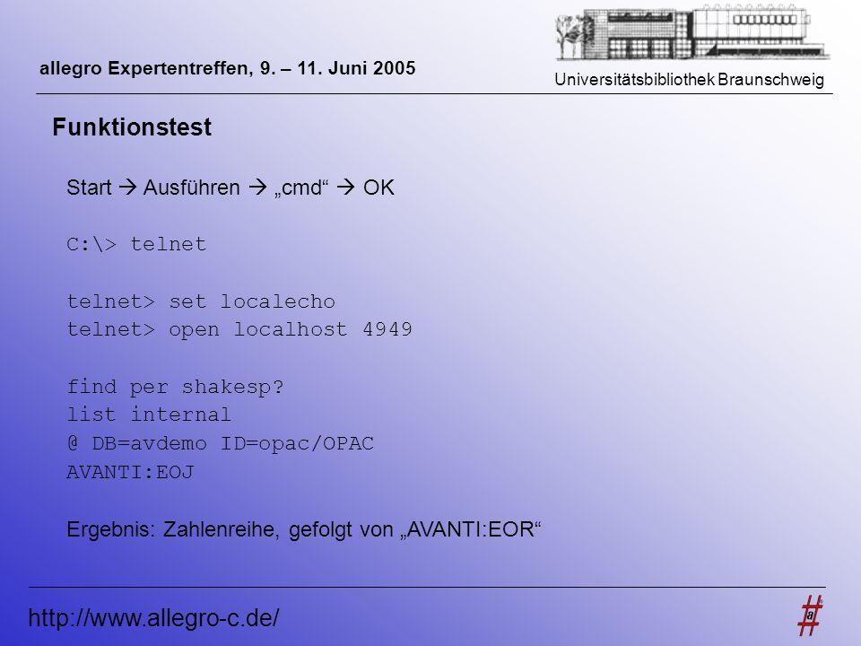 Universitätsbibliothek Braunschweig http://www.allegro-c.de/ allegro Expertentreffen, 9. – 11. Juni 2005 Funktionstest Start Ausführen cmd OK C:\> tel