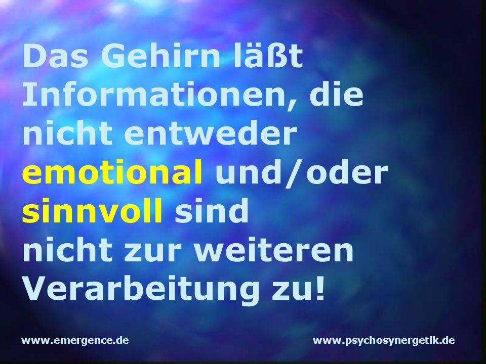 www.emergence.dewww.psychosynergetik.de Das Gehirn läßt Informationen, die nicht entweder emotional und/oder sinnvoll sind nicht zur weiteren Verarbei