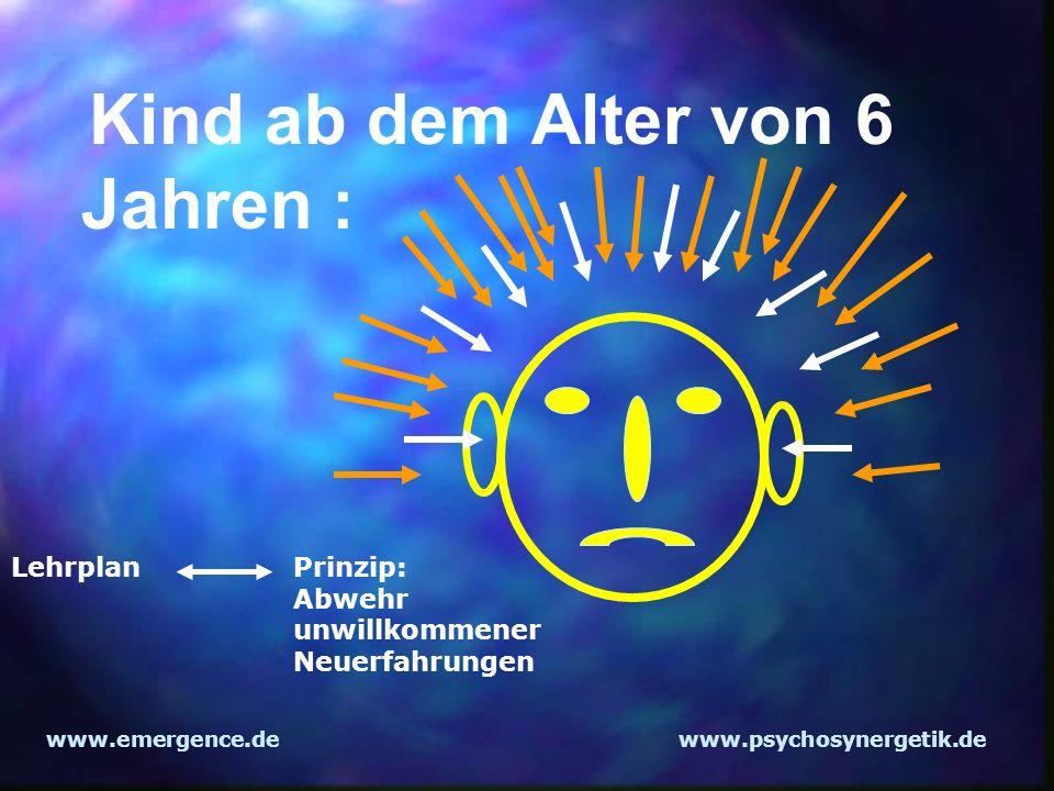 www.emergence.dewww.psychosynergetik.de Kind ab dem Alter von 6 Jahren : Lehrplan Prinzip: Abwehr unwillkommener Neuerfahrungen